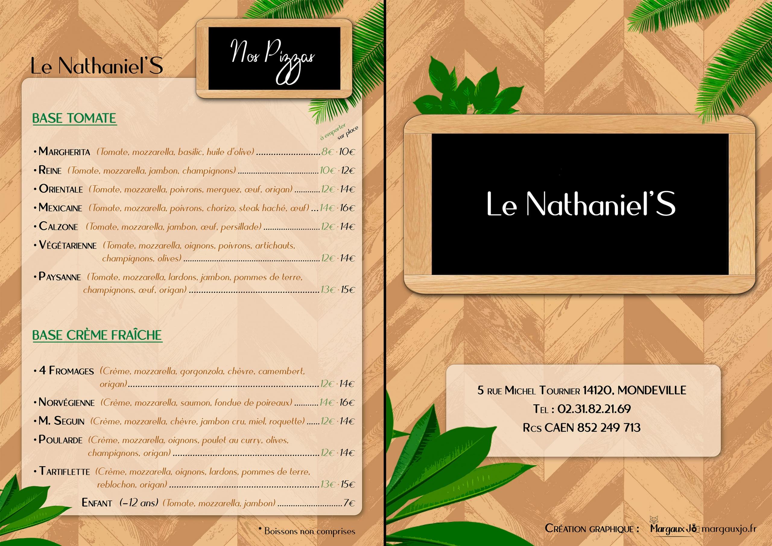 Infographie Graphisme Margaux JO Restaurant Le nathaniel's mondeville Caen calvados infographiste